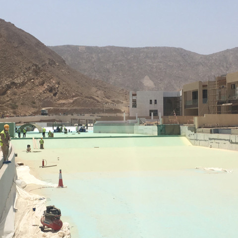 Lining of artificial Lagoon near Muscat Oman